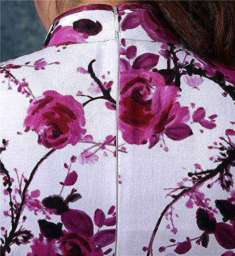 Luck Femme Courte Robe Chinois/Robe de Cérémonie Chinois Femme Manche Courte Motif Fleur avec Zippé en Polyester