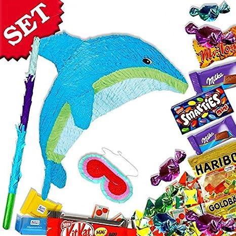 Delfin-Pinata-Set: +Süßigkeiten +Zubehör f. Spiele Unterwasser ...