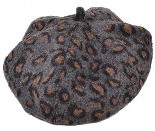 My Store Leopard Print Beret Ski Hat Knit Cap Gray At Amazon