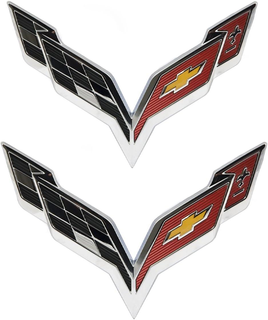 X2 CORVETTE PIECES Cross Flags car CHEVROLET TRUCK EMBLEM sign BADGE logo fr