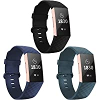 Adepoy Compatible for Fitbit Charge 3 Strap, Adjustable Classic Replacement Strap with Classic Aluminum Alloy Buckle