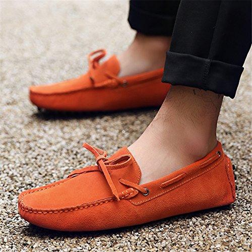Grande Jamron A Suave Mano Conducción Talla Zapatillas Naranja Zapatos De Mocasines Hecho Gamuza Hombres S7AqrS