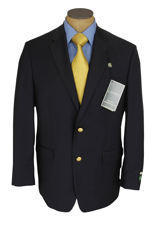 Ralph Lauren Mens Single Breasted 2 Button Navy Blue Wool Blazer