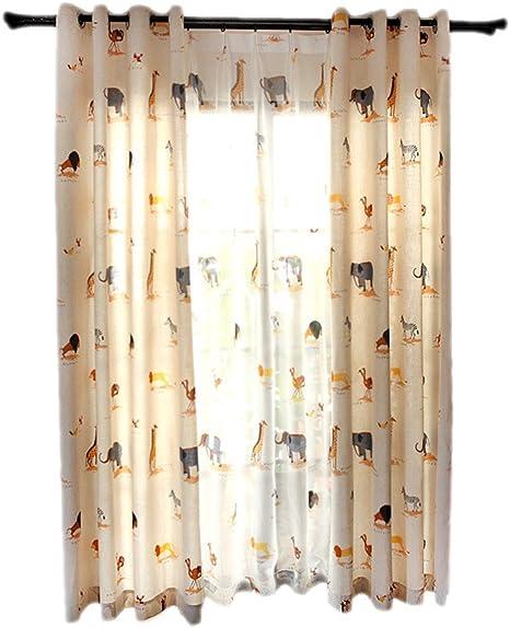 Algodón y lino bordado cortina cortinas schwebenden cortinas dibujos animados Cortinas Adecuado para salón dormitorio habitación de los Niños 175 x 140 cm Toalla cortinas: Amazon.es: Bebé