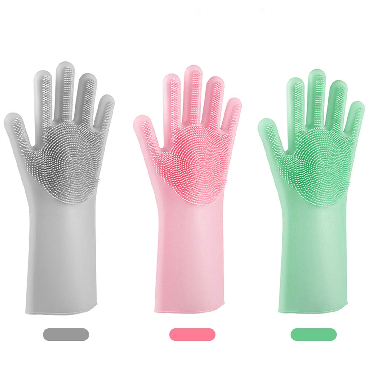 NIROLLE Reusable Silicone Dishwashing Gloves, 3 Pairs of Rubber Scrubbing Gloves for Dishes, Wash Cleaning Gloves with Sponge Scrubbers for Washing Kitchen, Bathroom, Car and More
