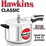 Hawkins Classic Pressure Cooker, 8 Liters, Silver
