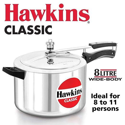 Hawkin Classic CL15 1.5 litros olla a presión de aluminio nuevo mejorado, pequeño, Plata 8-Liter Wide Body plata
