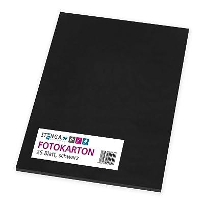itenga fotográfico cartón negro 25 hojas A4, 300 g/m² grueso - Papel impresora Papel Papel para manualidades: Oficina y papelería