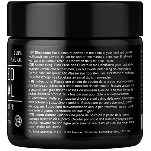 Activated Charcoal Natural Teeth Whitening Powder by Pro Teeth Whitening Co Grey Charcoal (non abrasive and proven safe for enamel) From Coconut Shells | Manufactured in England by Pro Teeth Whitening Co (Image #1)