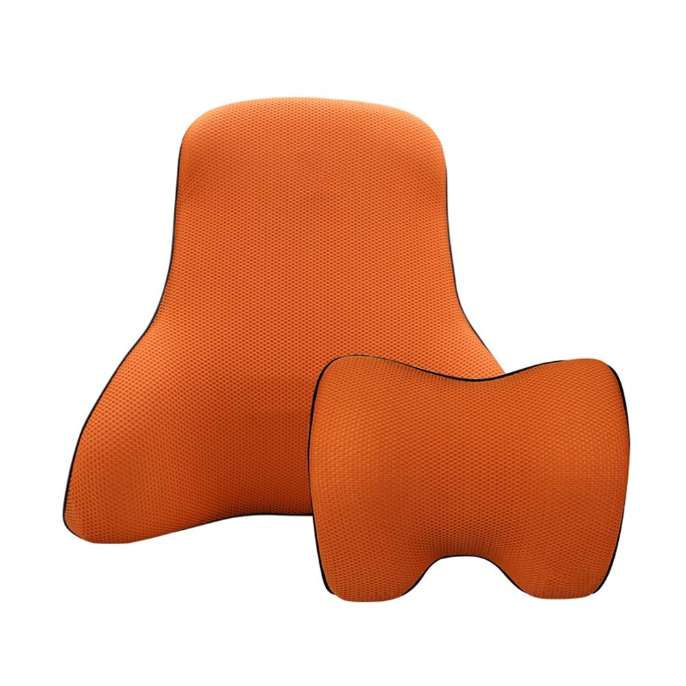 orange Headrest+Lumbar support Back Cushion Lumbar Support Pillow Ergonomic Back Support Car Headrest Suits Memory Foam Seat Neck Predection Comfortable GAOFENG (color   RED, Size   Headrest+Lumbar Support)