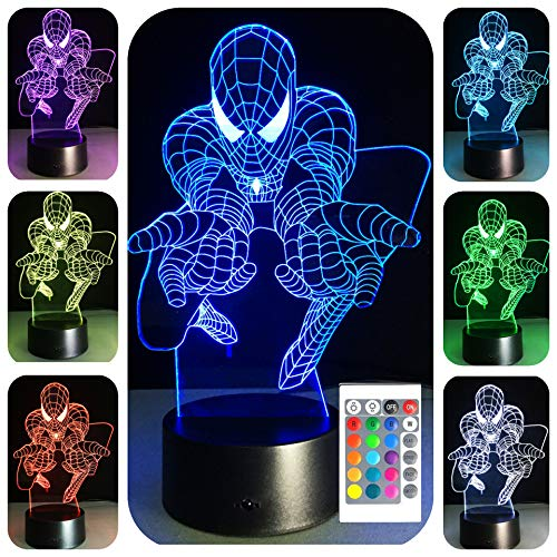 - 3D Night Lights for Kids 7 Colors 3D LED Illusion Lamp with Remote Control-Bedroom Table Lamp(Spiderman)