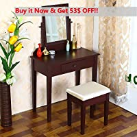OSPI Wooden Vanity Makeup Dressing table with Square mirror & Beige Stool 3 pieces, Espresso Finish (Cherry/Black) (Cherry)