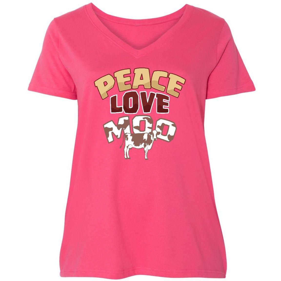 77d19a7b650 Amazon.com  inktastic - Cow Lover Peace Love Moo Ladies Curvy V-Neck Tee   Clothing