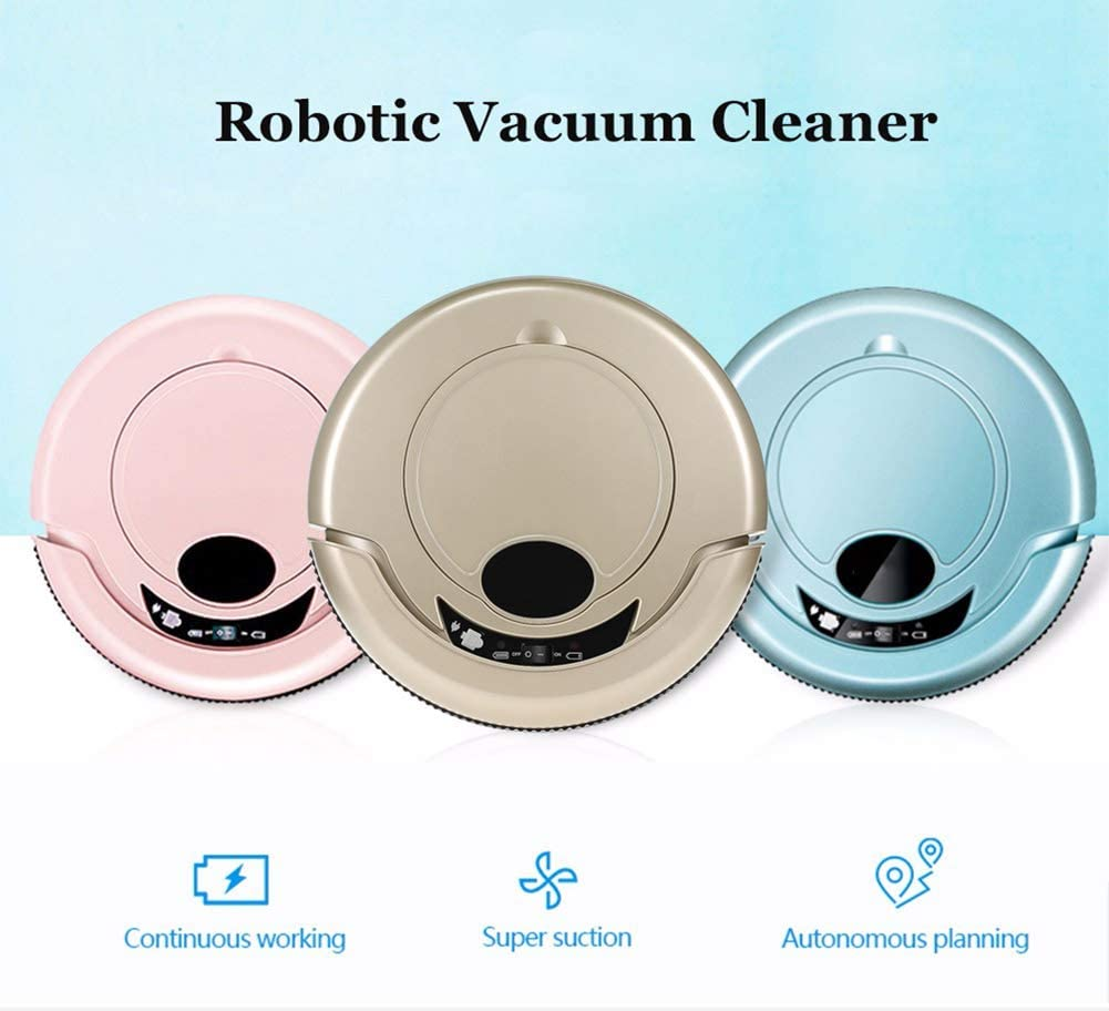 Wenhua Aspirateur Robot Intelligent, Robot De Balayage Automatique Domestique, Balayeuse/Aspiration/Vadrouille/Machine De Nettoyage De Sol sans Fil,Rose Blue