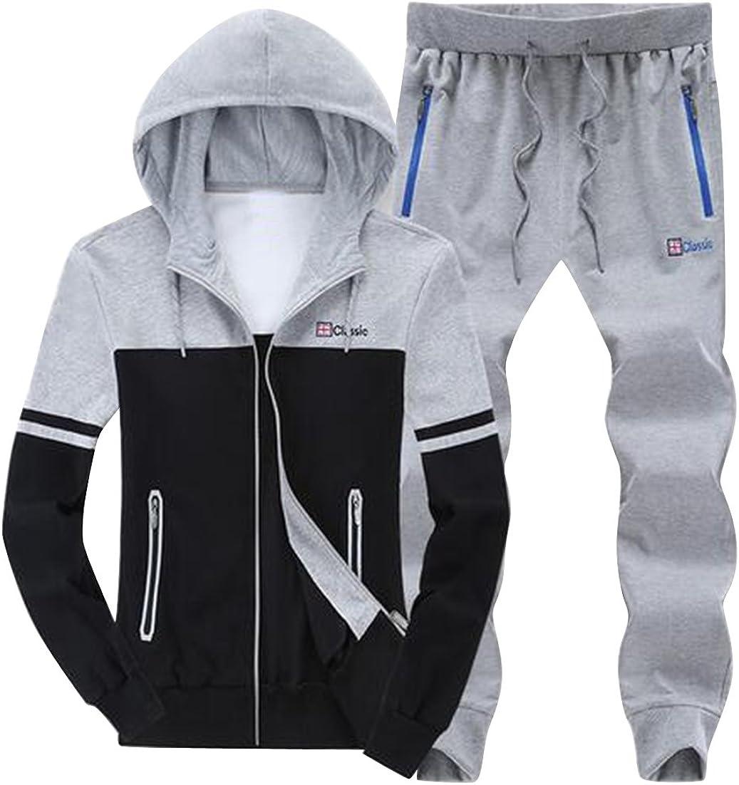 Fubotevic Men Plus Size Hoodies Pants 2 Pcs Outfits Gym Workout Sweatsuits Tracksuits Sets