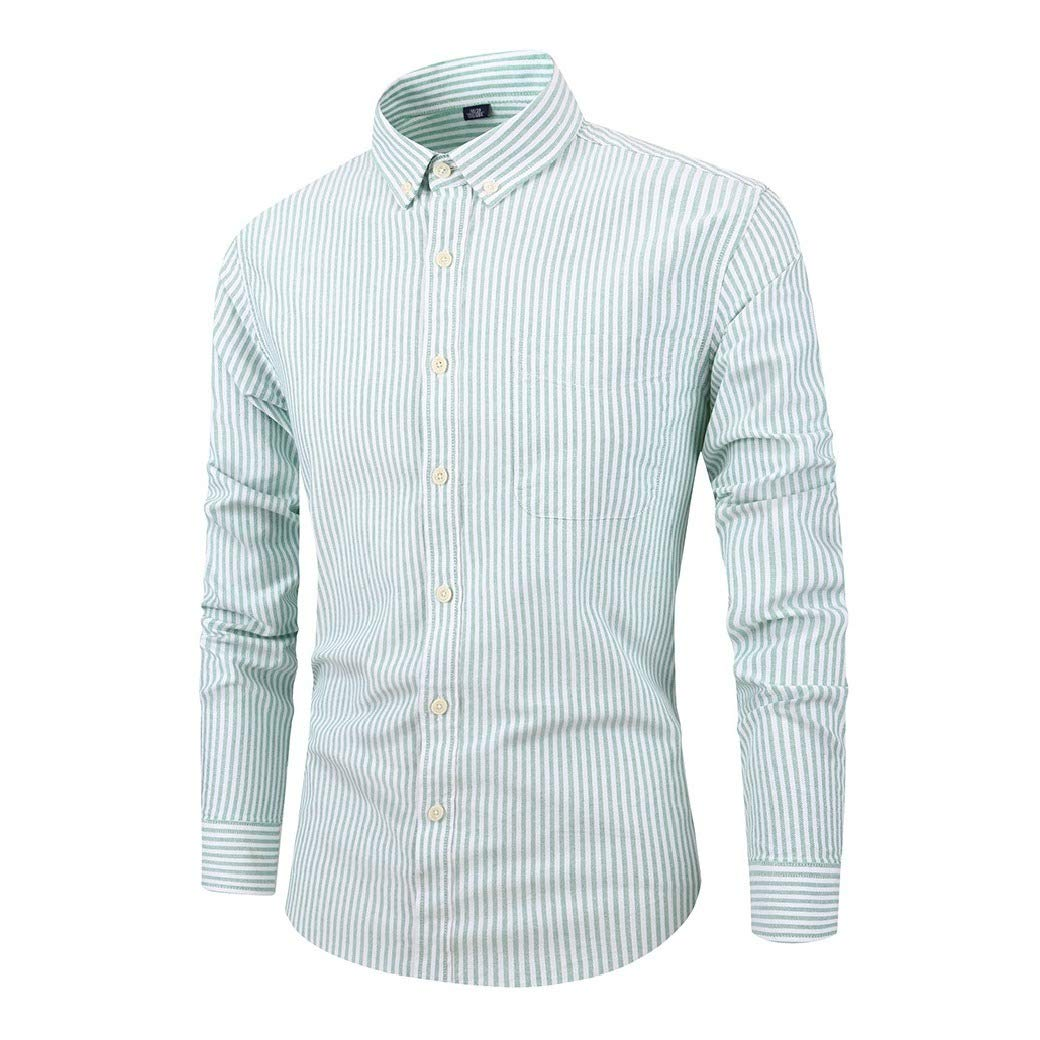 Fseason-Men Cozy T-Shirts Stripes Long Sleeve Skinny Oxford Western Shirt