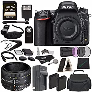 Nikon D750 DSLR Camera (Body Only) + Nikon AF NIKKOR 50mm f/1.8D Lens + 52mm 3 Piece Filter Set (UV, CPL, FL) + Battery + Sony 128GB SDXC Card + HDMI Cable + Remote + Card Reader + Flash Bundle