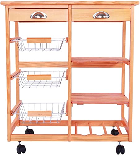 Rolling Wood Kitchen Island Trolley Cart Storage Tile Top Drawers Stand Durable Wood