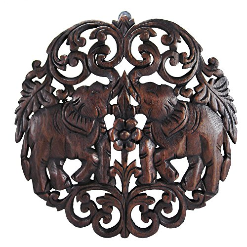 AeraVida HW0027BRN Royal Thai Elephant Teak Wood Relief Panel Wall Art Decor from AeraVida