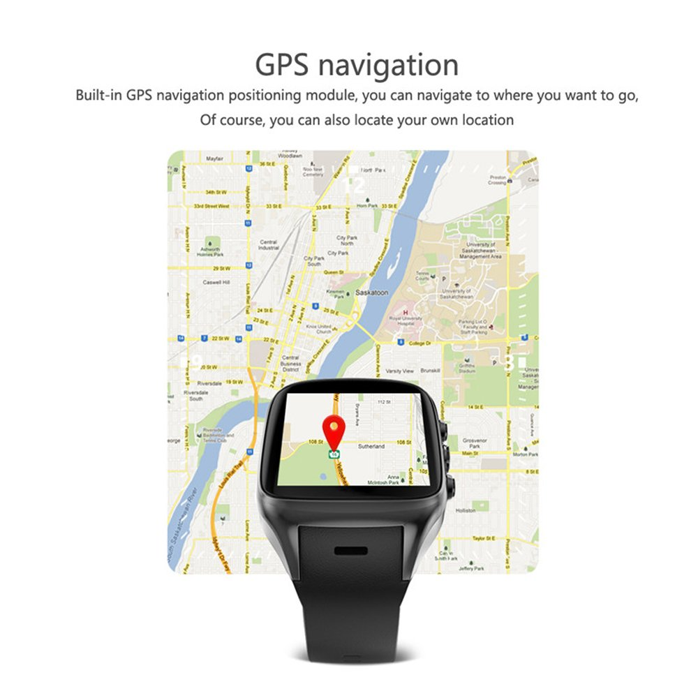 X02S Android 5 1 Smartwatch Phone Bluetooth Smart Watch with CPU MTK6580  GPS Camera 512MB+8G 3G WiFi (Silver)