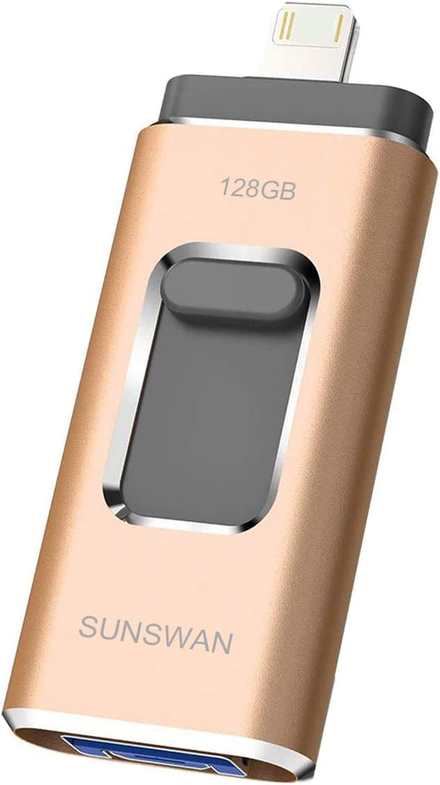USB 128GB Flash Drive for iPhone Memory Stick Thumb Drive Photo Stick External Storage USB Drive SUNSWAN Compatible iPhone iPad iPod iOS Windows Mac Android and PC(Gold128G-XT)