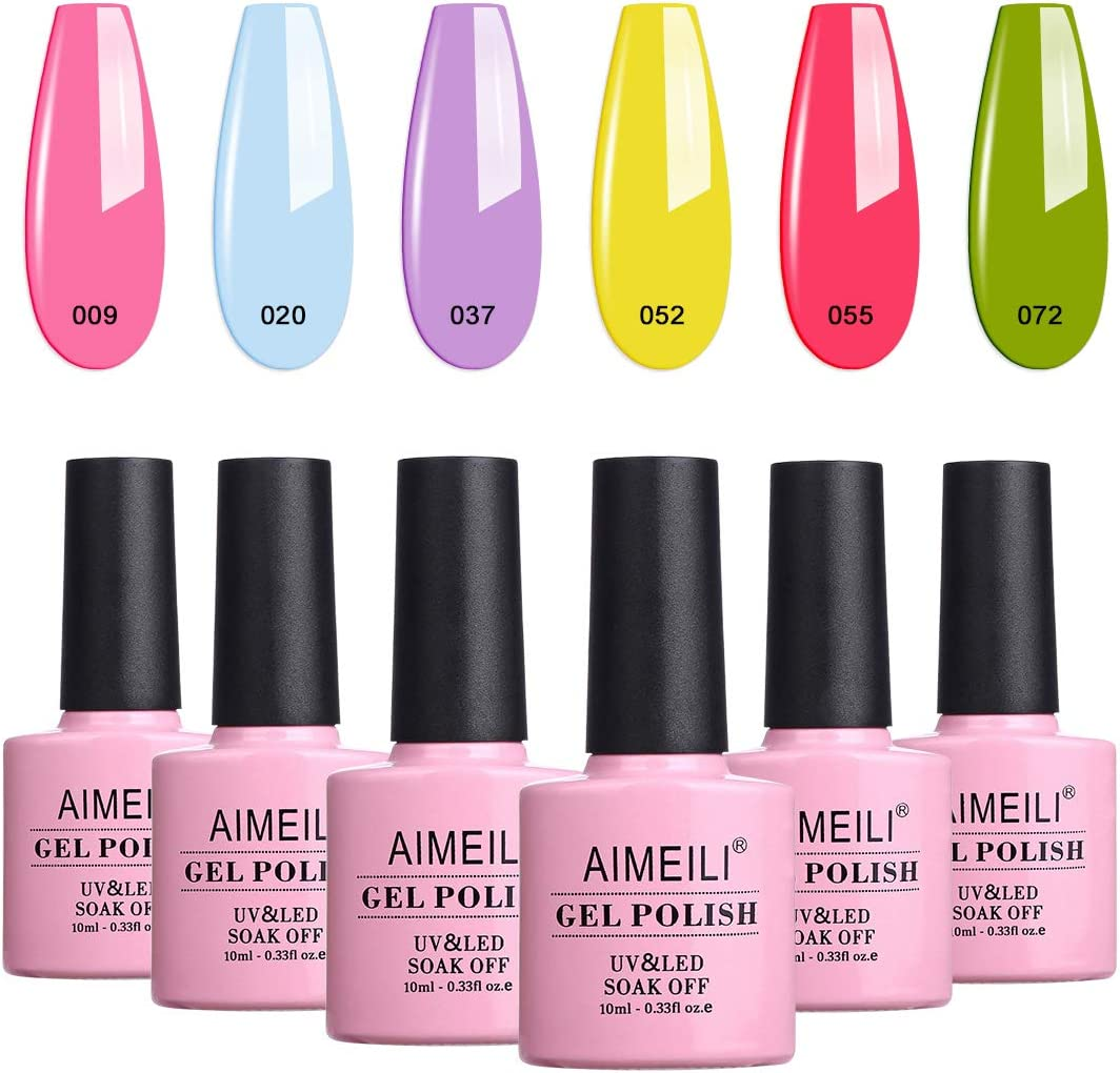 AIMEILI Esmalte Semipermanente Para Uñas Soak Off UV LED Uñas De Gel Kit de Manicura Color Combinado/Color De La Mezcla/Multicolur Set 6 X 10ml - Set 24