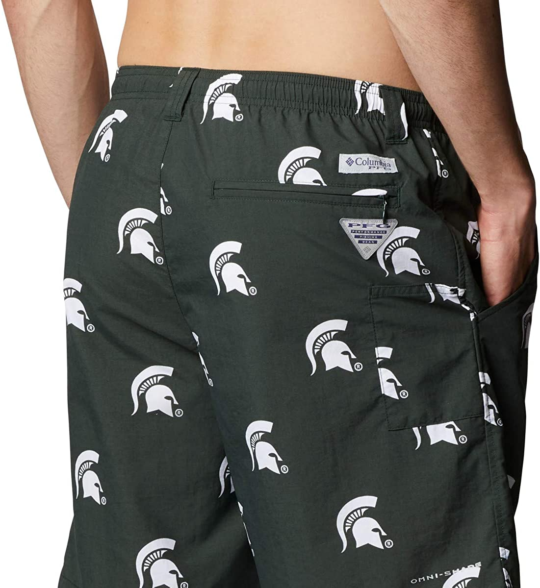 Columbia Mens Collegiate Backcast Ii Printed Short