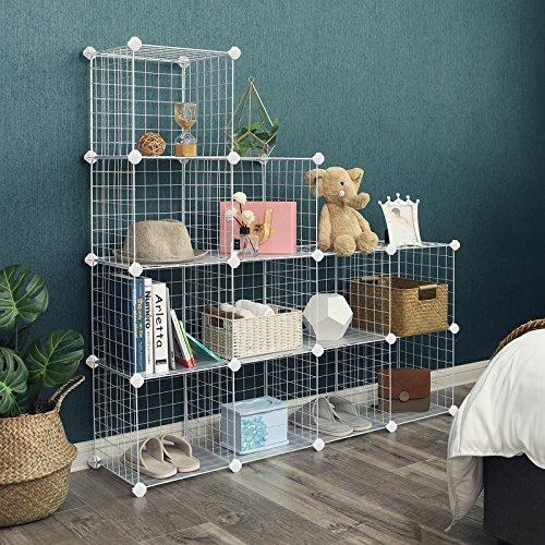 SONGMICS Metal Wire Storage Cube, Shoe Rack, DIY Closet Shelving Organizer Unit, Cabinet Wardrobe,Bookcase with Rubber Mallet 36.6''L x 12.2''W x 48.4''H, White, ULPI34W