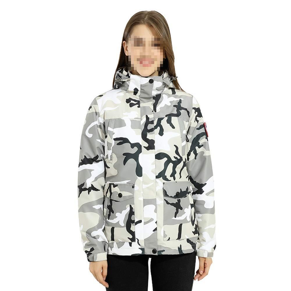 女性のカラフルなスキージャケットとズボンセット ジャケット冬の3イン1ダウン綿防水迷彩登山コート女性 防風 (色 : 白い gray, サイズ : 3XL) 白い gray 3XL