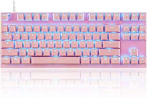 MQ LED Backlit Wired Mechanical Gaming Keyboard Small Compact 87 Key Metal Mechanical Computer Keyboard USB Wired Blue Switches for Windows PC Game,Aluminum Base (Pink Keyboard Blue Switch)