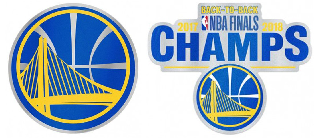 WinCraft Bundle 2 Items: Golden State Warriors Auto Badge Decals 1 Team Logo Decal and 1 Back to Back 2017 2018 NBA Champions Decal