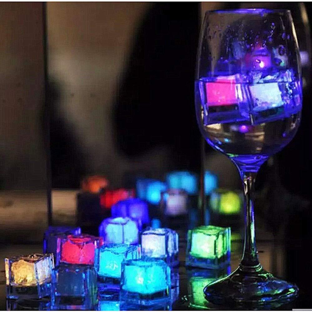 GozzZ 12 St/ück Party Deko LED Eisw/ürfel Licht Multi Farbe wechselnde LED Eisw/ürfel Fl/üssigsensor Blinken LED Glow Light f/ür Bar Club Trinken Wein Hochzeit Party Champagner Tower Dekoration