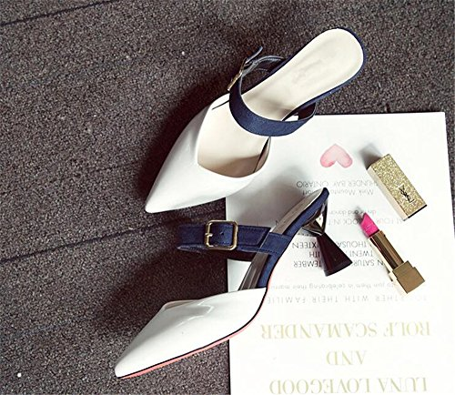 High Luxury Summer on Toe Buckled Soft Women's Slippers Slide Heeled Sexy Platform Sandals Pointy Slip White YyYrcv