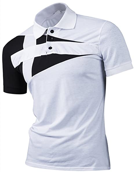 749b8a22798 Polo para Hombre de Manga Corta Casual Moda Camisas Cuello Contraste Golf  Tennis  Amazon.es  Ropa y accesorios