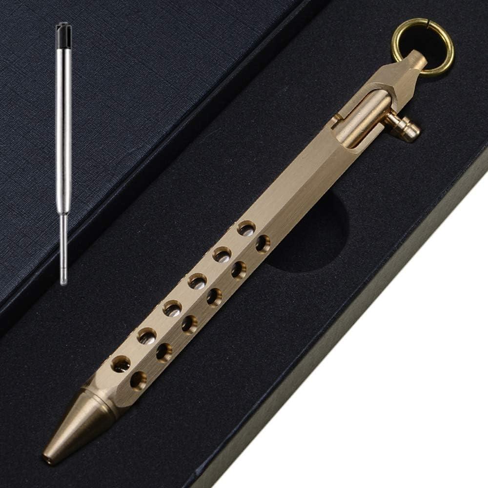 Amazon Com Ekloen Six Edge Solid Brass Pen Bolt Action Pen Edc Pocket Pen Signature Pen Pocket Pen Brass Office Products