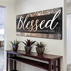 Sense of Art | Blessed Home Quote | Wooden Framed Canvas | Ready to Hang Wall Art for Home Decoration | (Brown Grey, 42x19)…