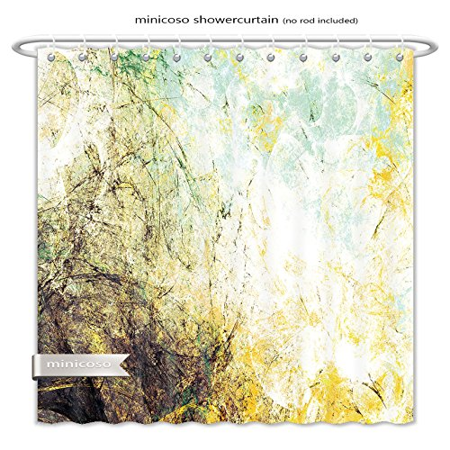 Minicoso ShowerCurtain abstract retro color background grunge futuristic yellow and grey artistic texture for wallpaper Polyester Fabric Bathroom Shower - Tamil Hot Women