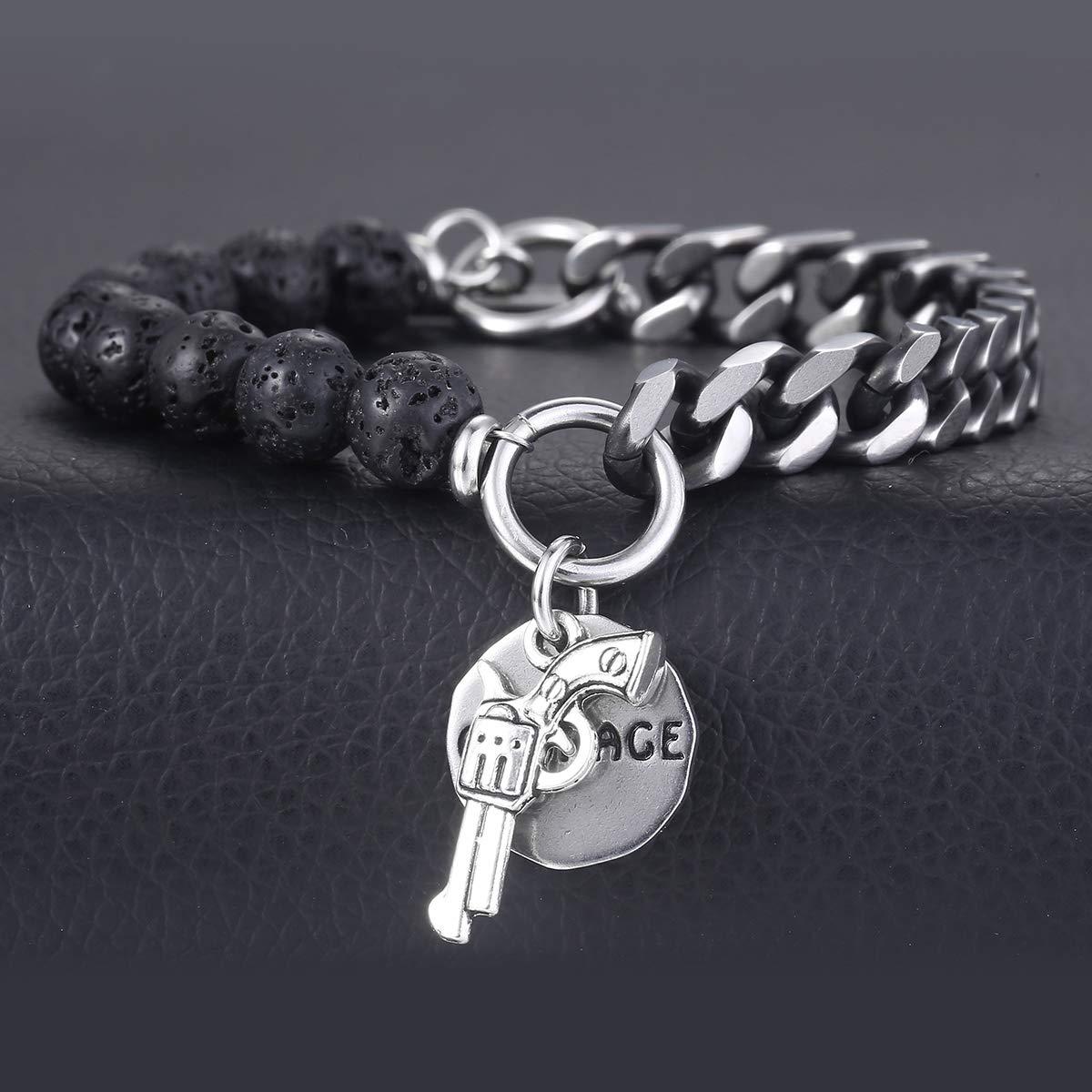 f3c4a2cd0caf5 Davieslee 8mm Bracelet Gourmette Cubain Chaîne pour Hommes Femmes Perle de  Pierre de Lave Bracelet en Acier Inoxydable ...