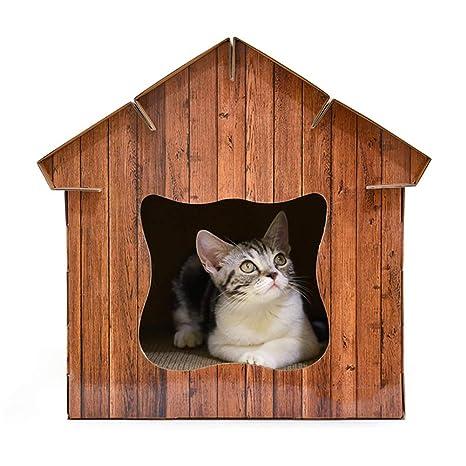 Pet Elf Gato de Papel Corrugado, Sala de Madera de imitación, Juguete Multifuncional,