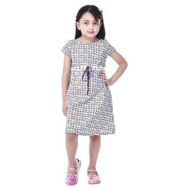 70e5f9627 GOODWILL Girl s Casual Cap Sleeve Cotton Frock-GWK-015White  Amazon ...