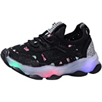 Unisex Boys Girls Trainers LED Luminous Anti-Slip Butterfly Crystal Mesh Sneakers, Infant Babies Mesh Lightweight Soft Sole Trekking Sports Running Shoes