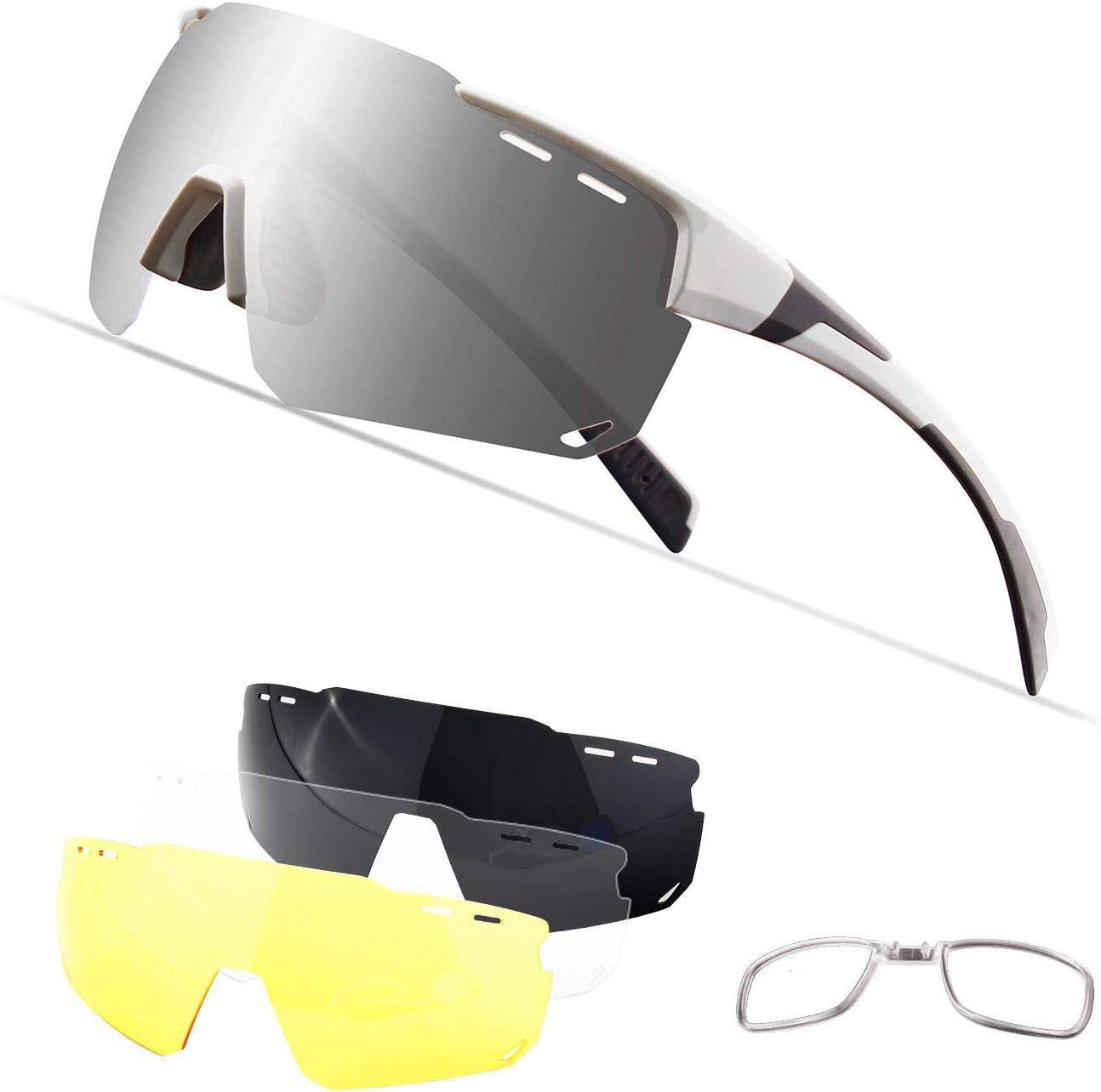 Xiyalai Cycling Sports Sunglasses,Polarized Glasses with 4 Interchangeable Lenses,Baseball Running Fishing Golf Driving Sunglasses