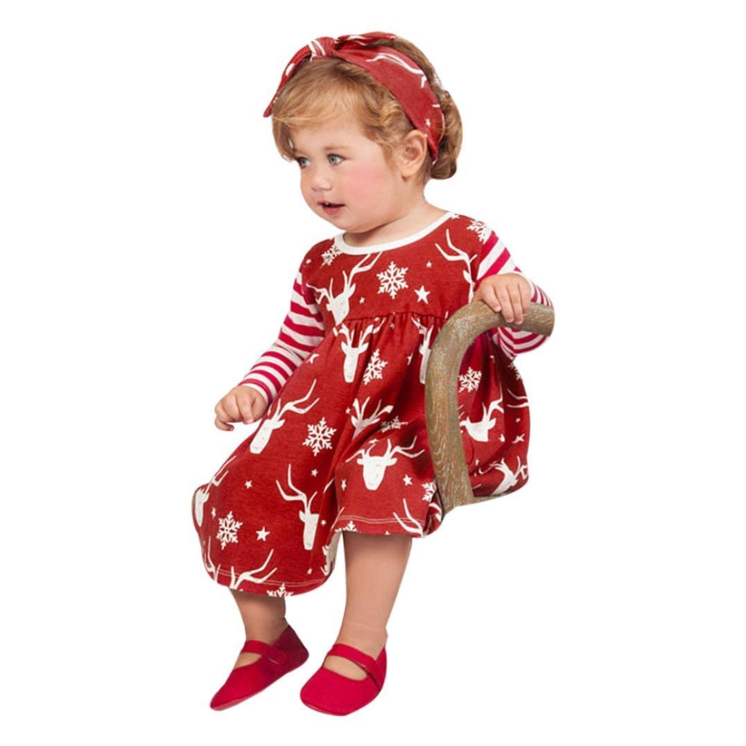Perman Christmas 2PCS Girls Long Sleeve Deer Striped Princess Tutu Dress+Headband PM-1107