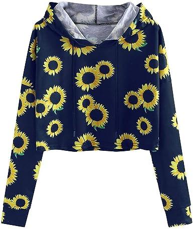 Womens Print Sweatshirt Women Sunflower Long Sleeve Hoodie Tops Loose Pullover Shirts