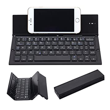 Semoic Teclado Plegable,Portátil Ultra Delgado Inalámbrico Teclado BT Aleación De Aluminio con Soporte Universal para iPhone/Windows/iOS/Android ...