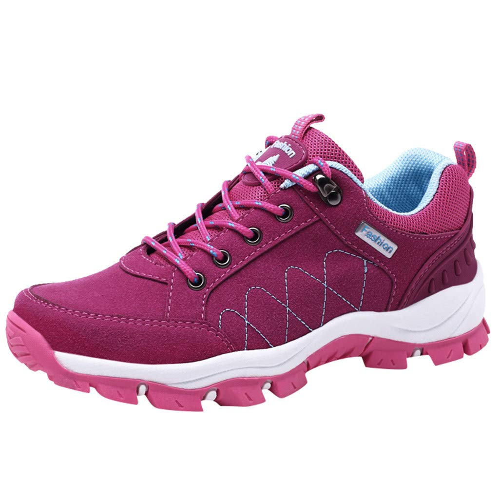 【MOHOLL】 Hiking Shoes Women Lightweight Breathable Mesh Walking Sneakers Low Top Boots for Outdoor Walking Hot Pink by ✪ MOHOLL Shoes ➤Clearance Sales