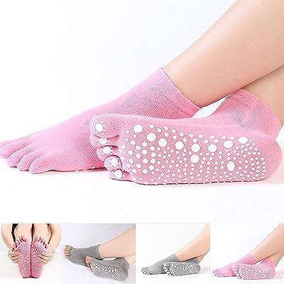 1 par completo/dedos de los pies medio baile de yoga deportes calcetines de algodón antideslizantes calcetines de pilates antideslizante desodorante de silicona calcetines de punta dividida Calcetin: Belleza