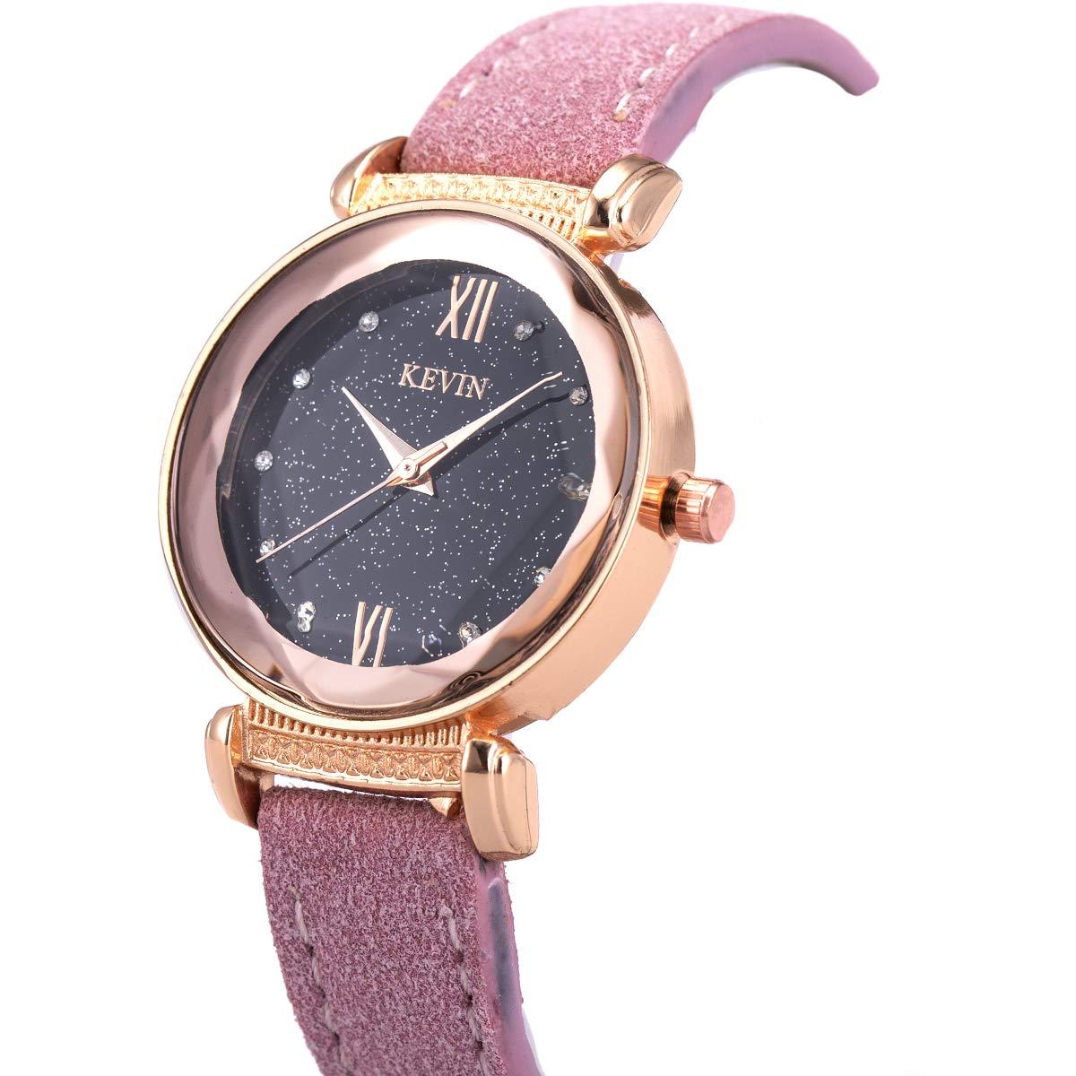 Wrist Watch Lady Women Crystal Leather Diamond-Shape Glass Roman Numerals SIBOSUN Galaxy Dial Quartz