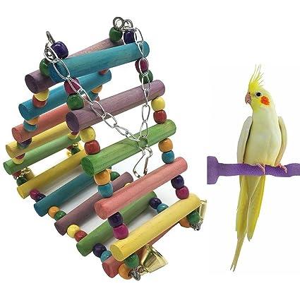 Birds Wooden Swing Bridge Ladder Climb Cockatiel Parakeet Budgie Parrot Pet Toy