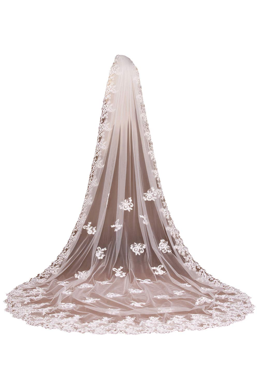 Babyonlinedress Soft Tulle Lace Long Veil For Wedding Brides,Ivory. by Babyonlinedress